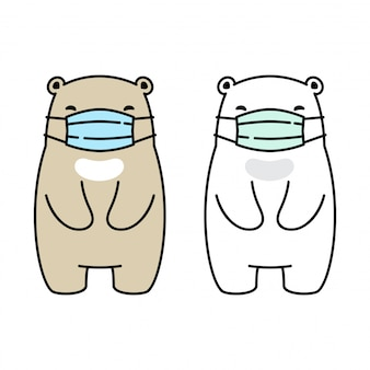 Niedźwiedź polarny maska coronavirus covid-19 body