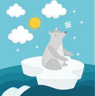 Niedźwiedź polarny na górze lodowej