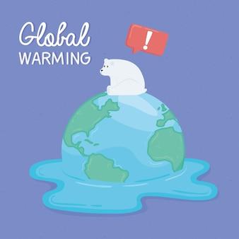 Niedźwiedź polarny na roztopionym świecie. ilustracja globalnego ocieplenia