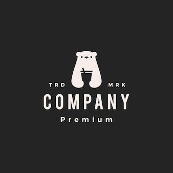 Niedźwiedź polarny pić kubek hipster vintage logo wektor ikona ilustracja