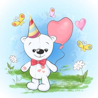 Niedźwiedź polarny pocztówka wydrukować urodziny w czapce z balonami. styl kreskówki.