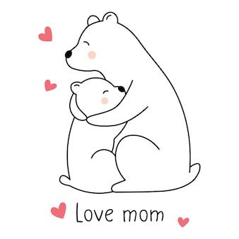 Niedźwiedź polarny przytula niedźwiadka kocham mamę kartkę z życzeniami na dzień matki
