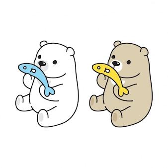 Niedźwiedź polarny ryba ilustracja kreskówka