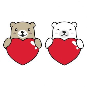 Niedźwiedź polarny serce valentine