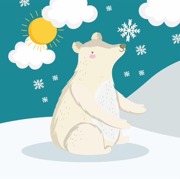 Niedźwiedź polarny siedzący na śniegu