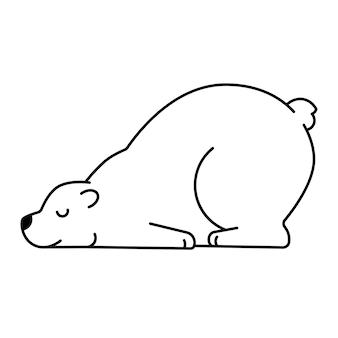 Niedźwiedź polarny śpi zwierzę śpi niedźwiedź leżący głową w dół rysunek konspektu