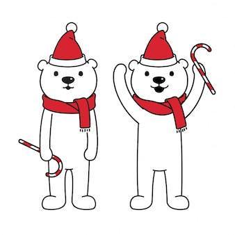 Niedźwiedź polarny szalik kreskówka boże narodzenie