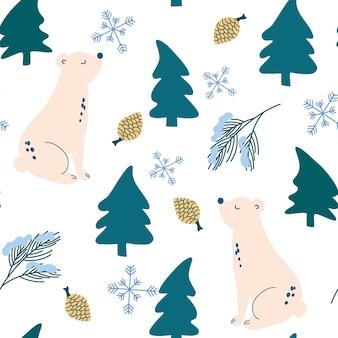 Niedźwiedź polarny w lesie wzór. boże narodzenie powtarzający się wzór. jodły, niedźwiedzie, płatki śniegu i szyszki. wektor ferie zimowe drukuj na tekstylia, tapety, tkaniny.