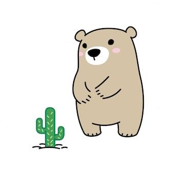 Niedźwiedź polarny wektor kaktus