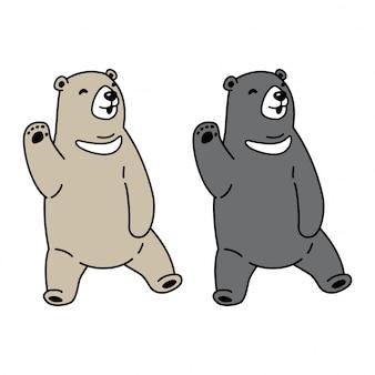 Niedźwiedź polarny wektor siedzi kreskówka