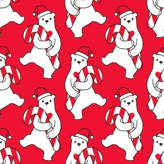 Niedźwiedź polarny wzór boże narodzenie santa claus candy cane