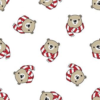 Niedźwiedź polarny wzór boże narodzenie szalik