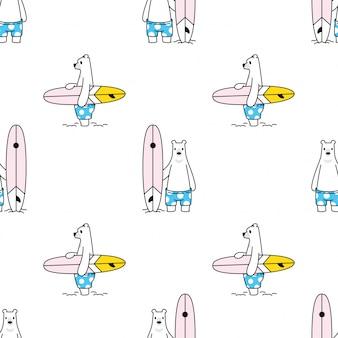 Niedźwiedź polarny wzór deska surfingowa plaża lato zwierząt kreskówka