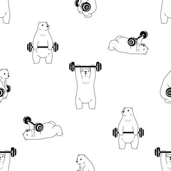 Niedźwiedź polarny wzór hantle siłownia szkolenia sport kreskówka ilustracja
