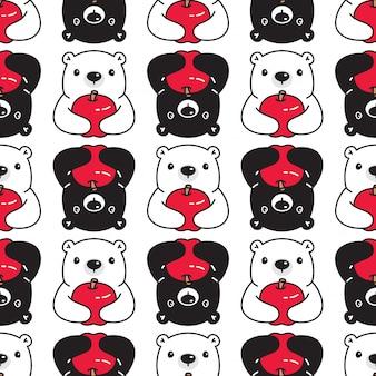 Niedźwiedź polarny wzór jabłko kreskówka