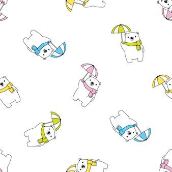 Niedźwiedź polarny wzór parasol deszcz