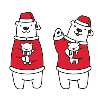 Niedźwiedź polarny z bożonarodzeniowym słodkim kapeluszem i santa