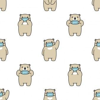 Niedźwiedź polarny z maską medyczną wzór
