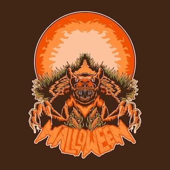 Niedźwiedź potwór halloween ilustracja