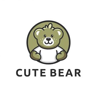 Niedźwiedź projekt logo szablon wektor ładny kreskówka
