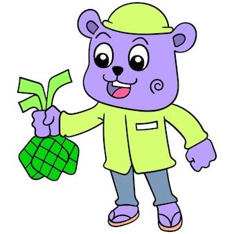 Niedźwiedź przynosi diamentowe jedzenie z okazji eid, ilustracji wektorowych sztuki. doodle ikona obrazu kawaii.