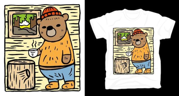 Niedźwiedź ręcznie rysowane ilustracja projekt koszulki
