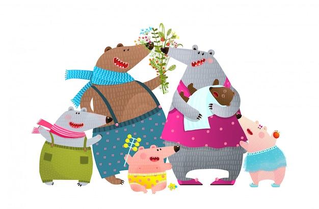 Niedźwiedź rodzina ojciec matka dzieci i noworodek