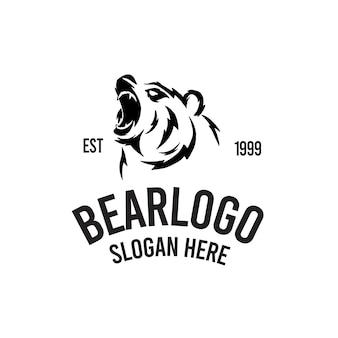 Niedźwiedź ryk retro ilustracja logo