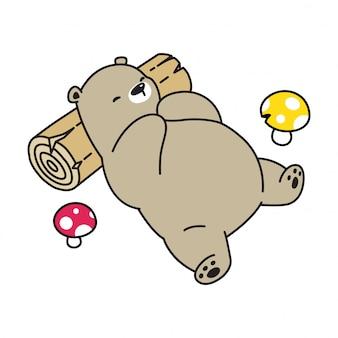 Niedźwiedź śpi na pniu