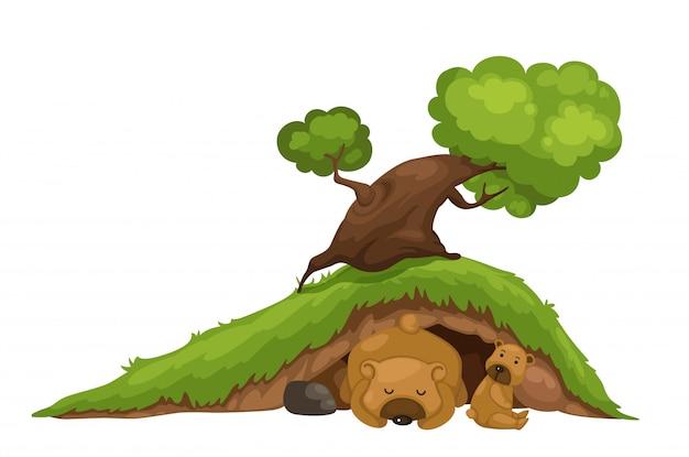Niedźwiedź śpi w jaskini wektor