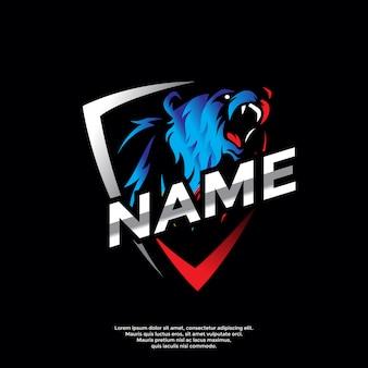 Niedźwiedź sport logo szablon