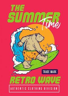 Niedźwiedź surfowania na plaży z zachodem słońca i stylem ilustracji w stylu lat 80-tych