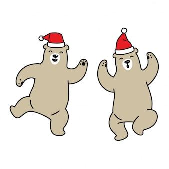 Niedźwiedź święty mikołaj taniec kreskówka