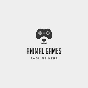 Niedźwiedź szablon projektu logo gry zwierzęcej kontroler koncepcji - wektor