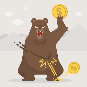 Niedźwiedź trąca monetę na podłogę