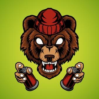 Niedźwiedź trzyma farbę w sprayu