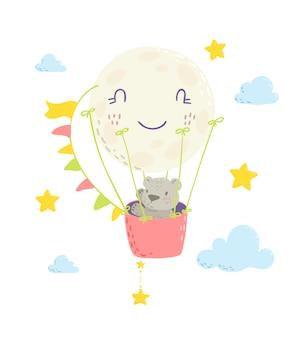 Niedźwiedź w balonie na ogrzane powietrze