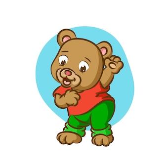 Niedźwiedź w kostiumie i tańczący