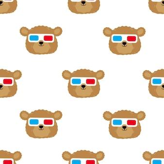 Niedźwiedź w okularach ilustracja kreskówka wzór