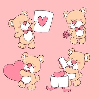 Niedźwiedź w zestawie ilustracji miłości