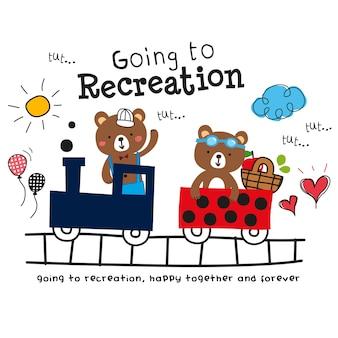 Niedźwiedź w zestawie kreskówka pociągu