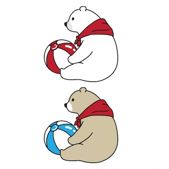 Niedźwiedź wektor niedźwiedź polarny piłka szalik kreskówka