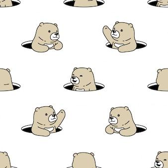 Niedźwiedź wzór dziura polarna ukryć ilustracja kreskówka