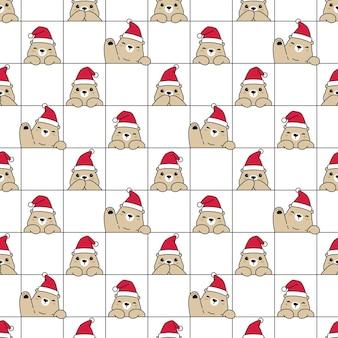 Niedźwiedź wzór polarny boże narodzenie czapka świętego mikołaja tedd
