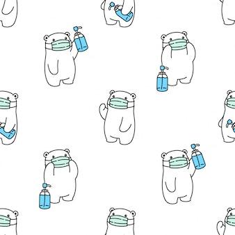 Niedźwiedź wzór wzór polarna maska coronavirus covid-19 alkohol żel kreskówka