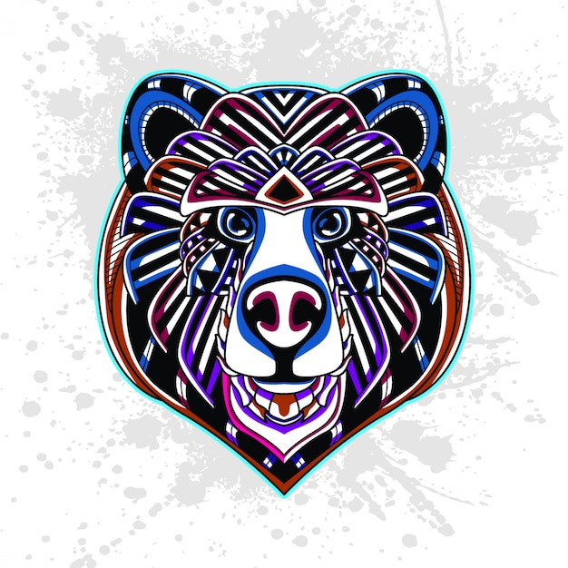 Niedźwiedź z abstrakcyjny wzór dekoracyjny