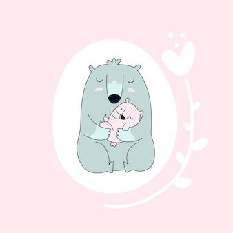 Niedźwiedź z dzieckiem.