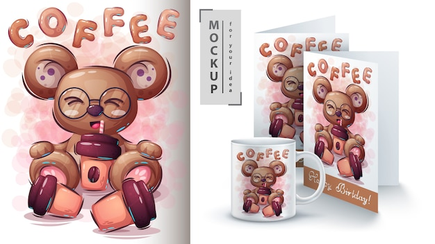 Niedźwiedź z kawową ilustracją i merchandisingiem.