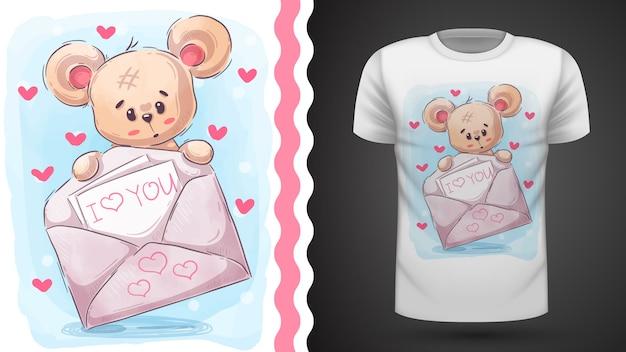 Niedźwiedź z listem, pomysł na t-shirt z nadrukiem