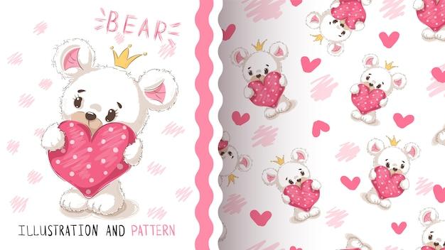Niedźwiedź z sercem bezszwowy wzór